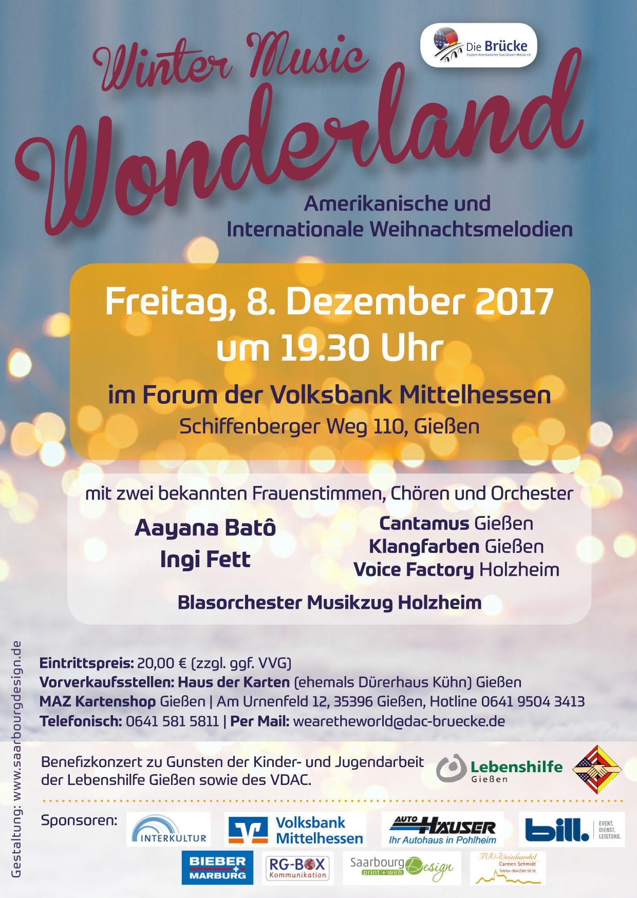 Benefiz-Konzert: WINTER MUSIC WONDERLAND im Volksbank Forum